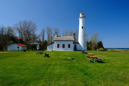 built in: Sturgeon Point Lighthouse, built in 1869, Lake Huron, Michigan, USA