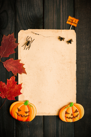 hojas antiguas: Blank old paper sheet and gingerbread cookie over dark wooden background with autumn leaves. Halloween invitation.