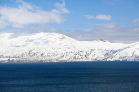 armenia: Lake Sevan in winter, Armenia Stock Photo