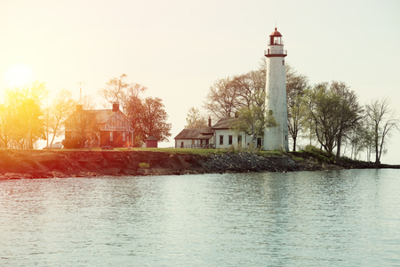 lake house: Pointe aux Barques Lighthouse, built in 1848, Lake Huron, Michigan, USA Stock Photo