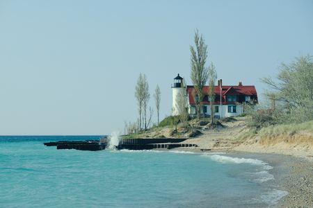 built in: Point Betsie Lighthouse, built in 1858, Lake Michigan, MI, USA Stock Photo