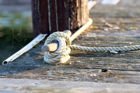Rope on jetty, Lake Cayuga at Ithaca, New York Stock Photo
