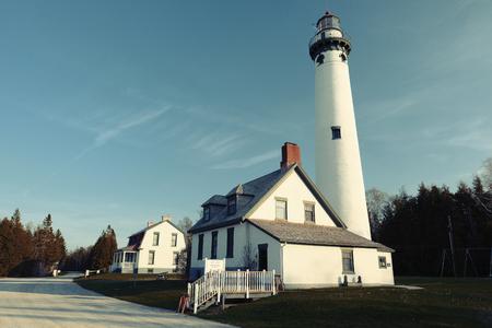 lake michigan lighthouse: New Presque Isle Lighthouse, built in 1870, Lake Huron, Michigan, USA
