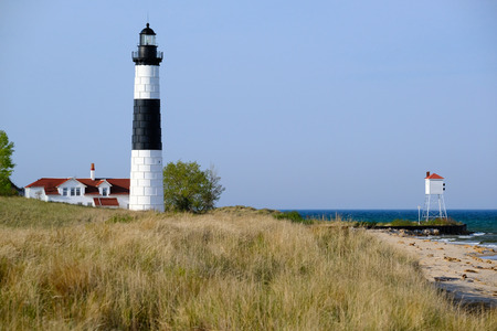 Big Sable Point Lighthouse in dunes, built in 1867, Lake Michigan, MI, USA Imagens