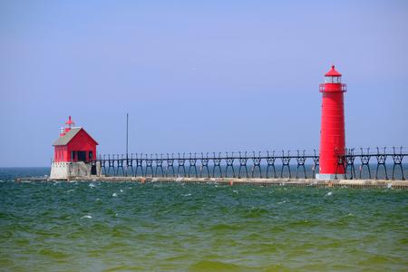 mi: Grand Haven South Pierhead Inner Light, built in 1905, Lake Michigan, MI, USA