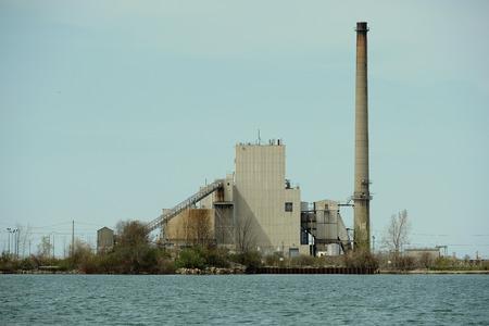 lake beach: Harbor Beach Power Plant, Lake Huron, Michigan, USA Editorial