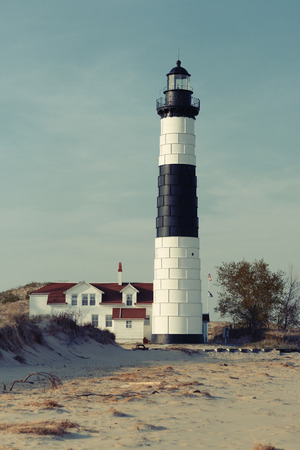 Big Sable Point Lighthouse in dunes, built in 1867, Lake Michigan, MI, USA Stock Photo