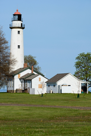 aux: Pointe aux Barques Lighthouse, built in 1848, Lake Huron, Michigan, USA Stock Photo