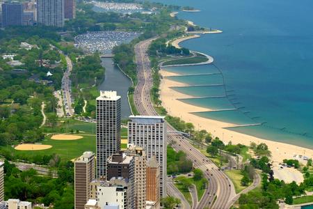 Chicago skyline aerial view.