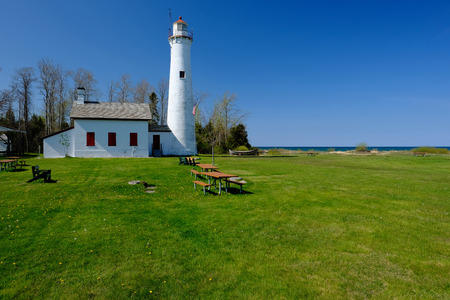 lake michigan lighthouse: Sturgeon Point Lighthouse, built in 1869, Lake Huron, Michigan, USA