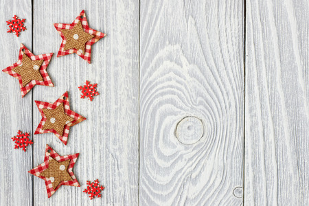 holiday tradition: Christmas decoration on white wooden background