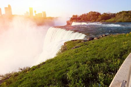 niagara falls city: American side of Niagara Falls, New York, USA Stock Photo