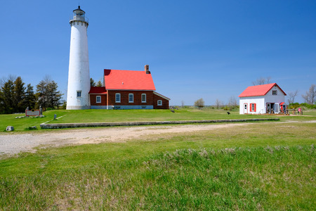 lake michigan lighthouse: Tawas Point Lighthouse, built in 1876, Lake Huron, Michigan, USA