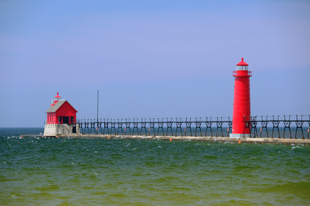 old pier: Grand Haven South Pierhead Inner Light, built in 1905, Lake Michigan, MI, USA