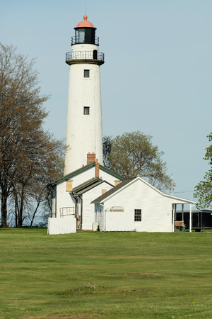 Pointe aux Barques Lighthouse, built in 1848, Lake Huron, Michigan, USA Foto de archivo