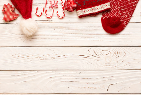 white winter: Christmas decoration on white wooden background