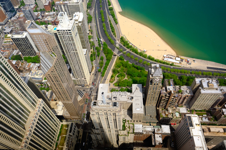 waterfront: Chicago skyline aerial view.
