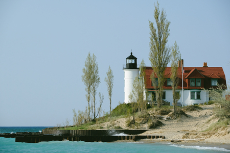 mi: Point Betsie Lighthouse, built in 1858, Lake Michigan, MI, USA Stock Photo