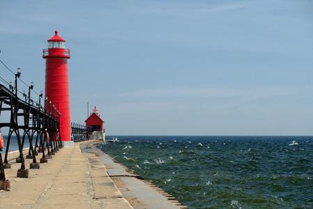 lake michigan lighthouse: Grand Haven South Pierhead Inner Light, built in 1905, Lake Michigan, MI, USA