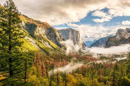 yosemite national park: Yosemite National Park Valley at cloudy autumn morning from Tunnel View. Low clouds lay in the valley. California, USA.