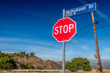 urban landscapes: Mulholland Highway sign, Los Angeles, California, USA.