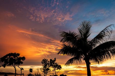 Beautiful sunset at Boracay beach, Philippines. Stock Photo