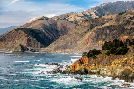 natural bridge state park: Highway 1 on the pacific coast, California. Stock Photo