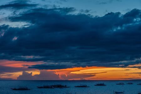 Beautiful sunset with dramatic sky at Panglao, Philippines