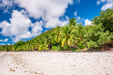 Beautiful beach at Seychelles, Praslin, Cote dOr Stock Photo