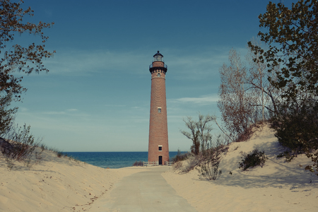 Little Sable Point Lighthouse in dunes, built in 1867, Lake Michigan, MI, USA