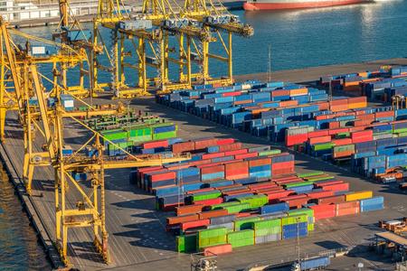 cargo transport: Industrial cargo port for freight transport overlook in Becelona Spain