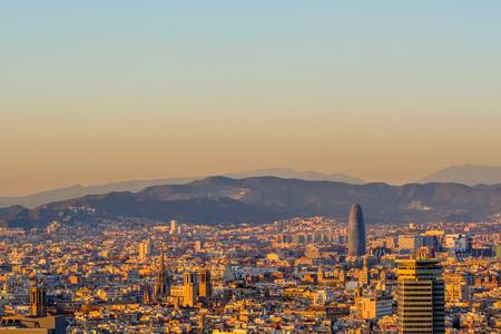 overlook: Barcelona cityscape at sunset overlook from Montjuic