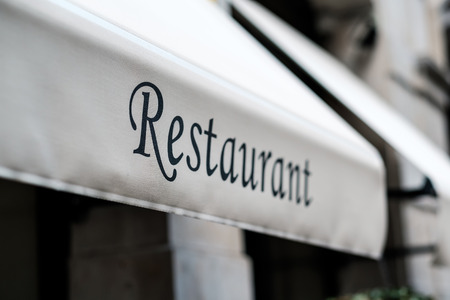 sign: Restaurant sign in Barcelona, Catalonia. Stock Photo