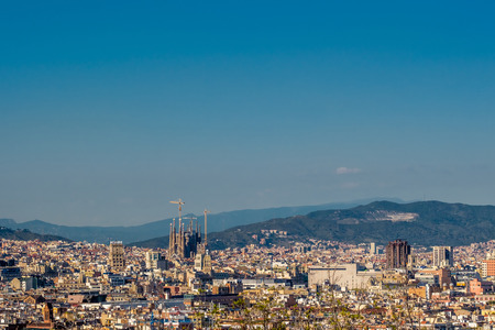 sagrada: Barcelona cityscape overlook from Montjuic