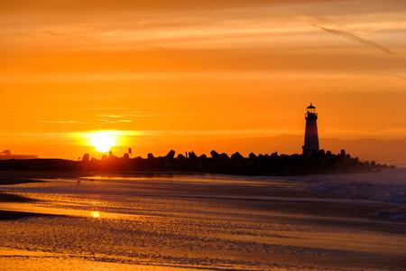 Santa Cruz Breakwater Light (Walton Lighthouse) at sunrise, Pacific coast, California, USA