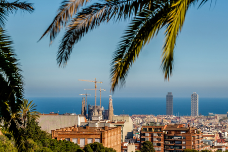 sagrada: Barcelona cityscape overlook from Park Guell