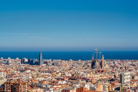 overlook: Barcelona cityscape overlook from Park Guell