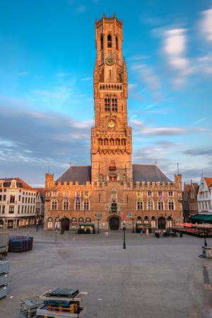 Bruges (Brugge) cityscape with Belfry of Bruges on market square, Flanders, Belgium