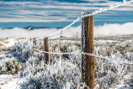 Season changing, landscape with hoarfrost on the fence Stock Photo