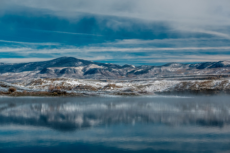landscape: Winter landscape with Wolford Mountain Reservoir in Colorado, USA. Stock Photo