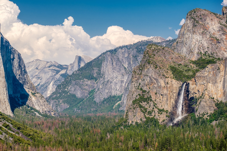 bridalveil fall: Yosemite National Park Valley summer landscape from Tunnel View. California, USA.