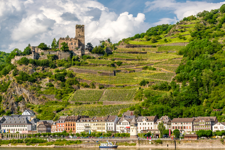 Gutenfels (Caub) Castle and vineyards at Rhine Valley (Rhine Gorge) near Kaub, Germany. Built in 1220. Stock Photo