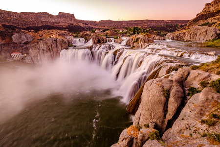 Shoshone Falls at sunset in Twin Falls, Idaho, USA.