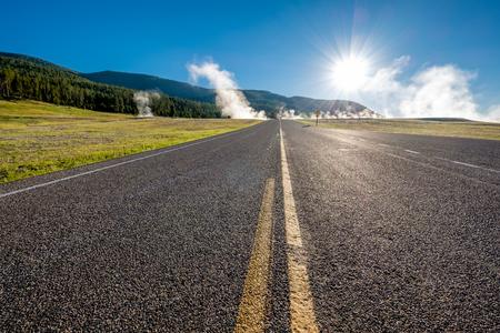 Highway in Yellowstone National Park, Wyoming, USA Stock Photo