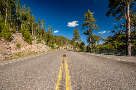 Highway in Yellowstone National Park, Wyoming, USA Stock Photo