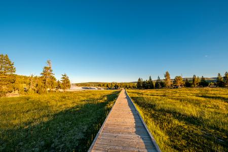 Boardwalk in Yellowstone National Park, Old Faithful area, Wyoming, USA