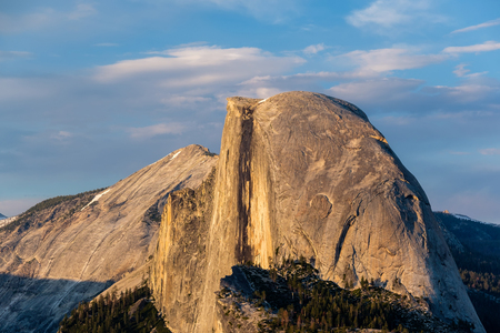 Half Dome rock formation close-up in Yosemite National Park summer sunset view from Glacier Point. California, USA. Stock Photo