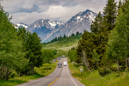 Highway in Grand Teton National Park, Wyoming, USA Stock Photo