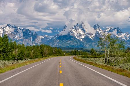 Highway in Grand Teton National Park, Wyoming, USA Stock Photo