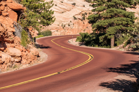 Empty scenic highway in Zion National Park, Utah, USA
